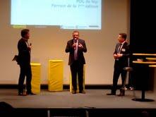 Parrain du 1er concours Crisalide Numérique: Hugues Meili (PDG de NIJI - au centre), Président de la CCI Rennes: Emmanuel Thaunier (PDG de E-Solutions - à droite), Présentateur de la soirée: Lionel Myszka (Dirigeant de WebPatron - à gauche),